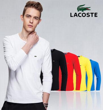 קטלוג חולצות ארוכות חלקות לגברים לקוסט LACOSTE
