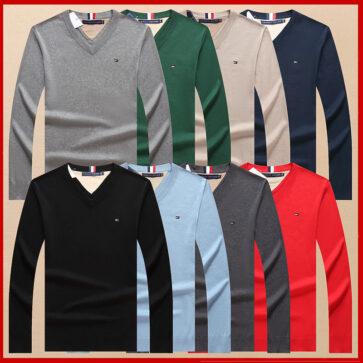 קטלוג חולצות ארוכות לגברים צווארון וי טומי TOMMY