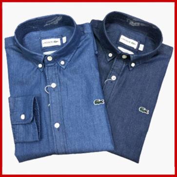 קטלוג חולצות מכופתרות גימור ג'ינס לגברים לקוסט LACOSTE